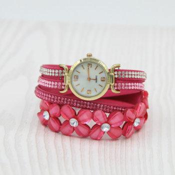 Korean fashion selling diamond Korean wool winding three-ring bracelet watch women's bracelet watch