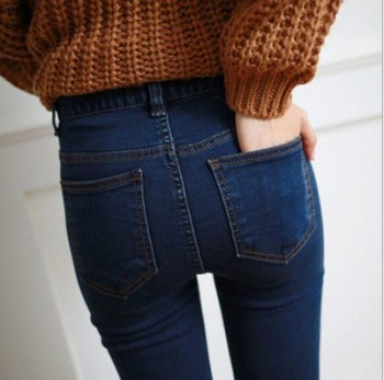 Korean version of high waist jeans women nine pants were thin pencil pants Slim students feet pants trousers