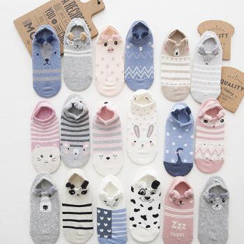 New Japanese cartoon stereo ear boat socks cute animal jacquard invisible cotton socks wholesale invisible socks