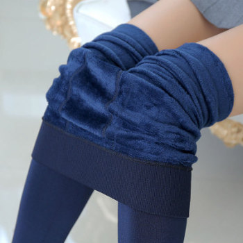 Autumn and winter ladies wild high waist pearl one leggings plus velvet thick warm pants wholesale 250g