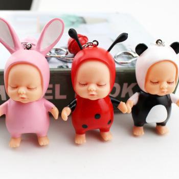 Cute creative sleep doll keychain cartoon key pendant men and women car bags pendant gifts wholesale