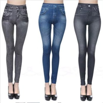 Europe and the United States explosion models really pocket lapel turtleneck imitation jeans seamless leggings