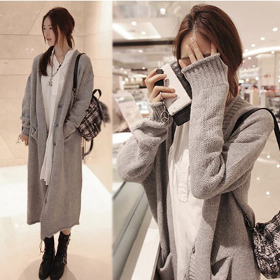 Autumn and winter new Korean version of the long paragraph thick large size loose sweater jacket women's cardigan swea
