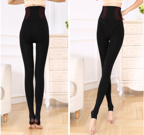Ms. Siamese wearing warm thick leggings autumn and winter models high waist pants size head