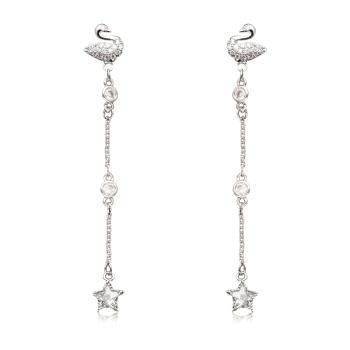 Fashion new Swan temperament long pendant tassel stud earrings 925 silver needle