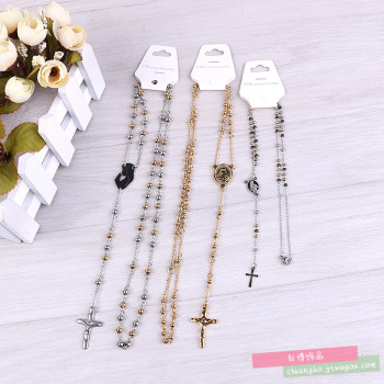 Stainless Steel Beaded Cross Jesus necklace European and American ethnic jewelry ornaments accessories