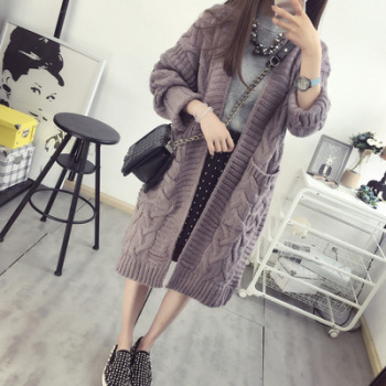 Autumn new Korean version of the twist pocket sweater coat female long section loose thick knit cardigan