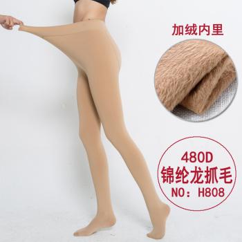 480D Nylon Long hair warm wool plus velvet foot socks light leg artifact stockings wholesale