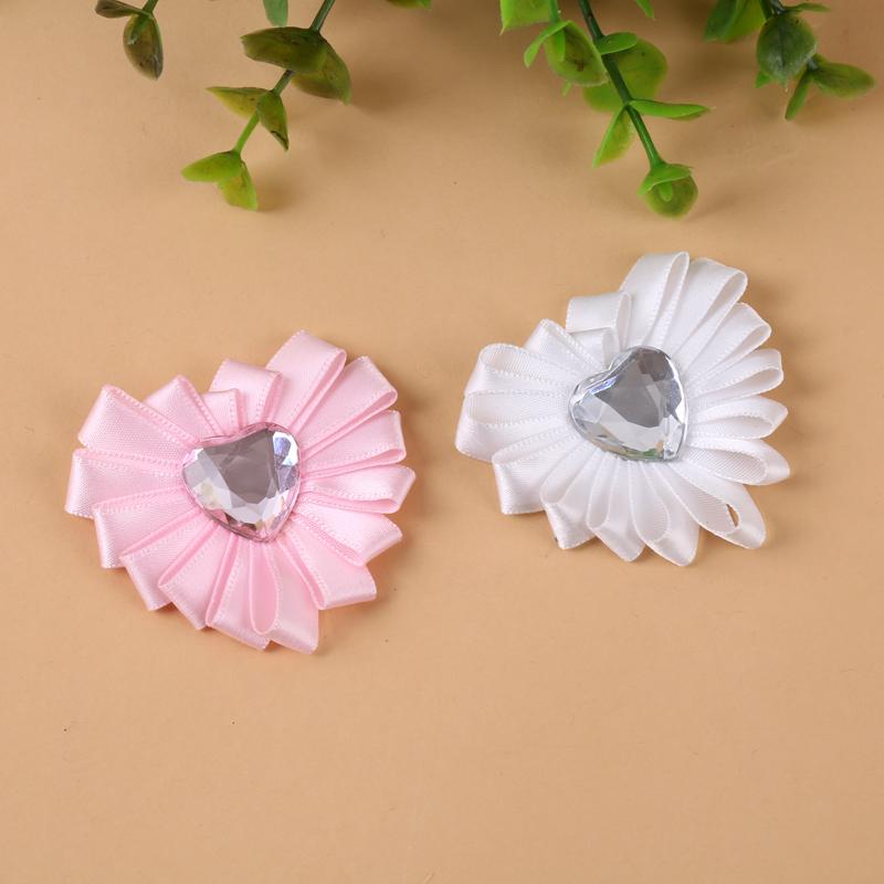 新款爱心丝带百褶花朵爱心贴钻装饰花