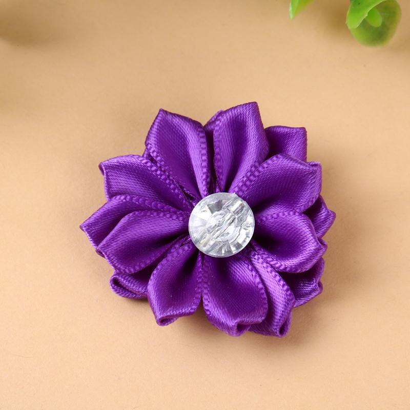 贴钻丝带花 手工缝制丝带装饰花 diy配饰花朵