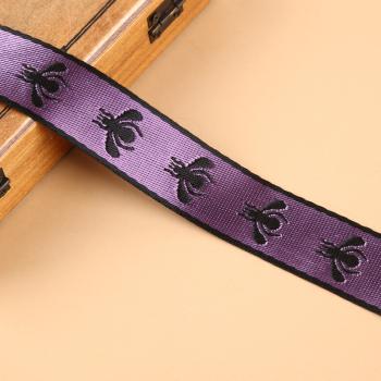 廠家直銷 彩色底黑色小蜜蜂款刺繡提花織帶