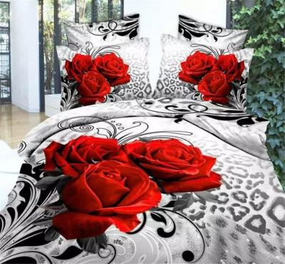 Poly cotton active 3D stereo version of four sets of bed linen flower factory direct random pattern