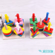 Geometric shapes for young children intellectual puzzle building blocks for baby toys column matching puzzle
