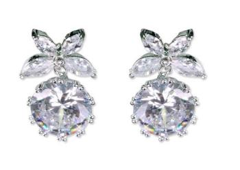 Stylish new temperament simple personality flowers zircon earrings