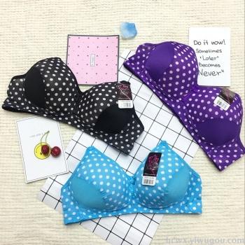 2018 new trade bra factory direct dots printed thin sponge comfortable bra ladies underwear