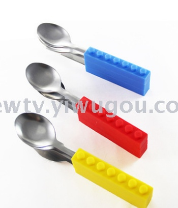 Set of three pieces of tableware silicone children cutlery silicone handle stainless steel knife and fork spoon two sets