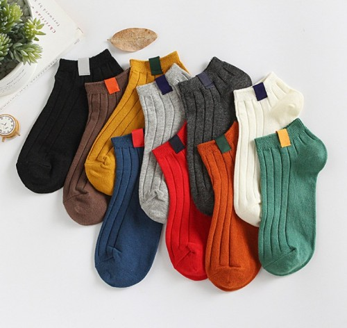 Spring and summer new solid color female standard socks cotton boat socks double needle thick line couple socks