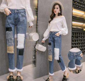 Autumn and winter new Korean version of cashmere rabbit join the jeans wide leg pants pencil pants women