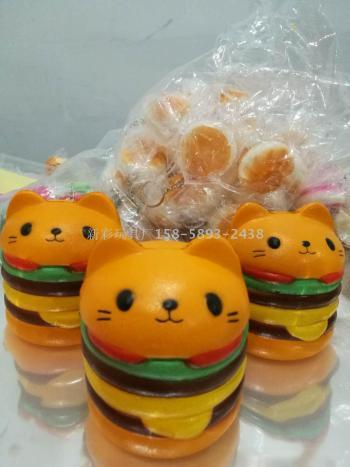 PU model simulation of multi-layer cat head hamburger squishy, slow springback bread fruit animal toys