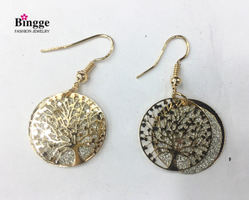 European and American fashion accessories iron double spring onion powder earrings life tree earrings