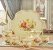 2017 new continental high drinking ware coffee set gold ivory porcelain tea set gifts