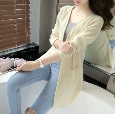 Spring and autumn wear simple and pure color cardigan unlined sweater cardigan jacket