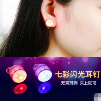 Luminous ear nail wholesale bar club trendy people's must-have earrings led by led light earrings factory