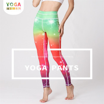 Foreign trade European and American new autumn/winter fitness yoga nine-point yoga pants running tight star yoga pants