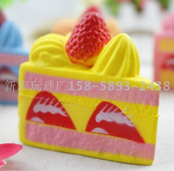 PU slow rebound simulation bread Squishy small triangle strawberry cake model infant teaching supplies