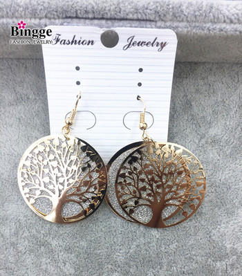 Foreign trade ornament iron plate double spring onion powder earrings life tree earrings