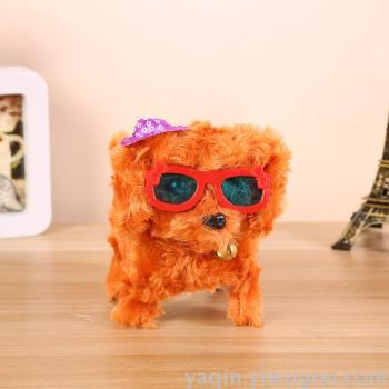 Electric toys, dog, plastic, plush, curly hair, dog, hat and glasses