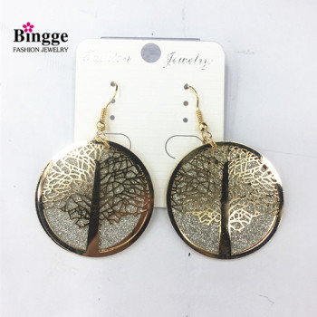 European and American fashion accessories iron plated double spring onion powder earrings life tree earrings