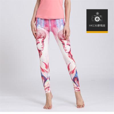 2017 European and American new constellation print yoga pants sportswear outdoor leggings sportswear