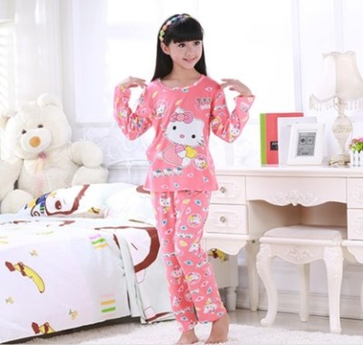 Children's pajamas long sleeve cotton suit boy boy children's summer air conditioning room baby's home