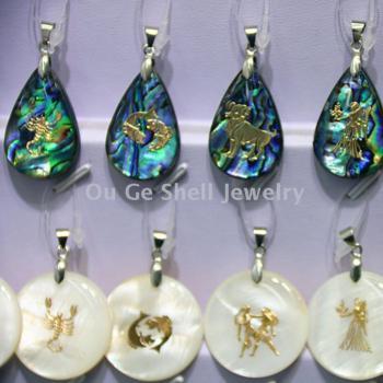 European shell ornament 12 constellation shell pendant sweater chain pendant