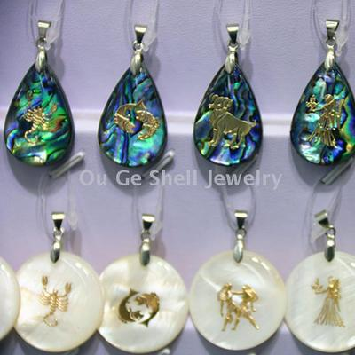 European shell ornament 12 constellation shell pendant sweater chain pendant