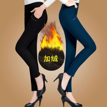 In autumn and winter, old ladies wear a warm and warm bamboo charcoal leisure pants