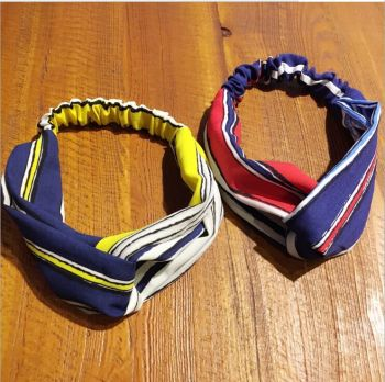 Korean edition headband with elastic stripe print cross hair wholesale movement lady