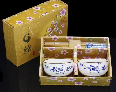 Pottery and porcelain bowl chopsticks gift set craft jingdezhen hand-painted