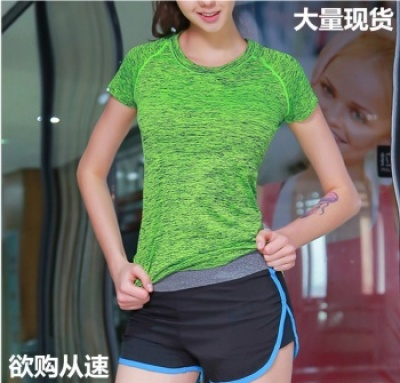 Fitness women's high sports short sleeve segment dyeing sport T-shirt jump running yoga suit jacket speed dry clothes