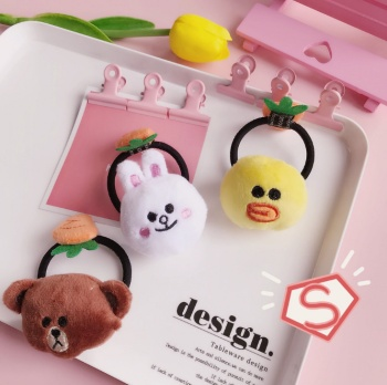 Jingtian with a cute bear with a cute bear hair band, the Korean girl heart warm carrot skin