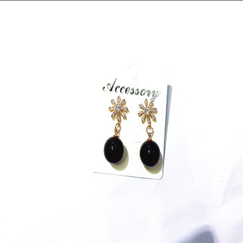 Amber wax natural two - generation gold-plated ear earrings with a woman's ear of 925 sterling silver