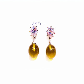 Hot style second generation honey wax earring ear nail plating genuine gold with zircon drill earrings