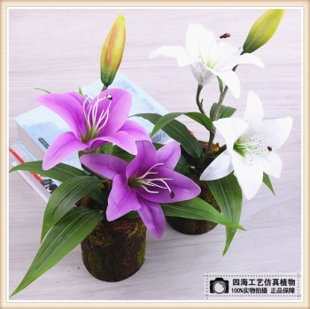 Lily high quality artificial flowers for setting up miniature miniature miniature potted plants