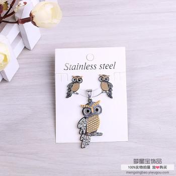 Ear nail pendant set necklace earrings for stylish owl