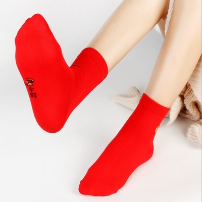 Men's and women's pure cotton socks the best red socks in the year red socks
