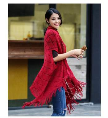 Factory direct sales new wool shawl spring and autumn winter female tassel cape knitted scarf