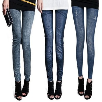 South Korean version of the imitation cowboy printed stretch of the pants with the snowflake imitation denim leggings