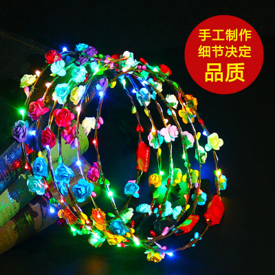 Manufacturer direct 10 lamp 10 flowers flashing wreath at night market toys wholesale