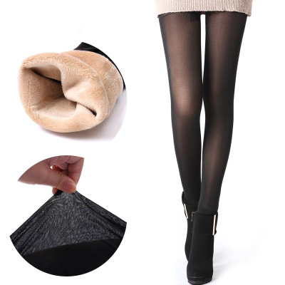 Ladies' fine net through coffee warm and thick leggings integrated trousers autumn and winter cotton trousers women